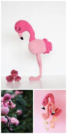 Amigurumi Flamingo Free Pattern - Amigurumi Daily Crochet Bird Patterns, Crochet Elephant Pattern, Crochet Birds, Amigurumi Patterns, Free Crochet, Crochet Hats, Crochet Ideas, Crochet Flamingo, Handicraft