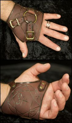 Exorcism gloves with the sigils inlaid on the palms. This should be part of the kit of every mage, druid, healer, shaman, whatever. If your LARP has possession as a possible attack then you need these. - Arcanepunk: Exorcism Handwraps by TormentedArtifact Style Steampunk, Steampunk Fashion, Steampunk Gloves, Steampunk Boy, Steampunk Jacket, Crea Cuir, Leather Armor, Fantasy Costumes, Leather Projects