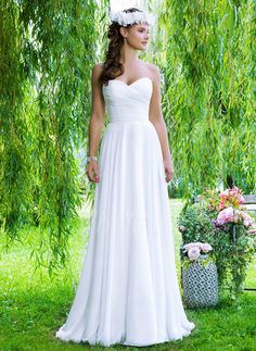 Wedding Dresses - $145.44 - A-Line/Princess Strapless Sweetheart Court Train Chiffon Wedding Dress With Ruffle (0025060021)