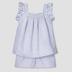 Victoria Beckham for Target Toddler Girls' Blue Stripe Poplin Tank Top and Short Set, $20..