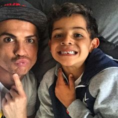 Pin for Later: 15 Times Cristiano Ronaldo and His Son, Cristiano Jr., Were Total Twins When They Made Silly Faces Cristiano Ronaldo Junior, Cristano Ronaldo, Cristiano Ronaldo Juventus, Cristiano Ronaldo Cr7, Juventus Fc, Neymar, Cr7 Messi, Lionel Messi, World Best Football Player