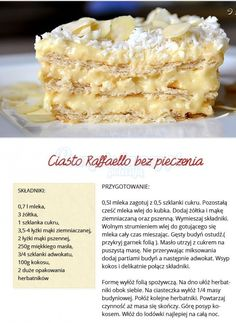 SMAKOWITE CIASTO RAFFAELLO - BEZ PIECZENIA!!! Sweet Recipes, Cake Recipes, Dessert Recipes, Good Food, Yummy Food, Xmas Food, How Sweet Eats, I Foods, Food Inspiration