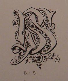 BIBLIOTYPES: MONOGRAMAS - DEMENGEOT Ch. ( I ) Monogram Design, Monogram Fonts, Chicano Lettering, Vintage Monogram, Letter B, Illuminated Letters, Caligraphy, Tribal Tattoos, Tatoos