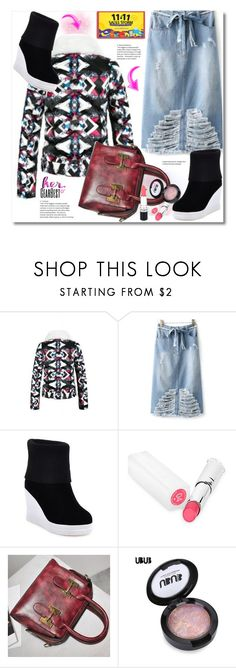 """Ripped Skirt"" by andrea2andare ❤ liked on Polyvore"