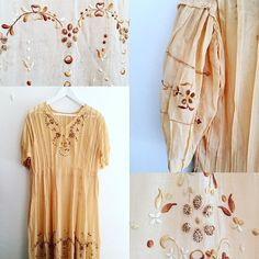 New products delicate embroidery  naples yellow sheer cotton dress #fab.#vintage#vintagefashion #ヴィンテージ#ビンテージ#ヴィンテージファッション #1920s #1930s #ヴィンテージワンピース #刺繍 #古着