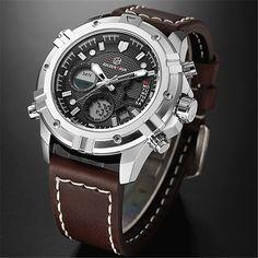 6162e8fa0274 GOLDENHOUR Mens Relojes de Primeras Marcas de Lujo de Cuarzo Analógico  Digital Reloj de Los Hombres