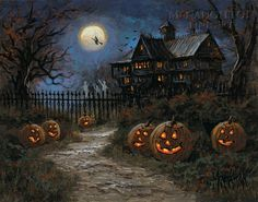 I love Halloween and autumn. Anyone wanna join me for a Halloween party just ask, okay? And don't be afraid to ask me anything, halloween/autumn related or not! Halloween Vintage, Casa Halloween, Image Halloween, Halloween Scene, Halloween Painting, Halloween Haunted Houses, Halloween Images, Halloween Prints, Holidays Halloween