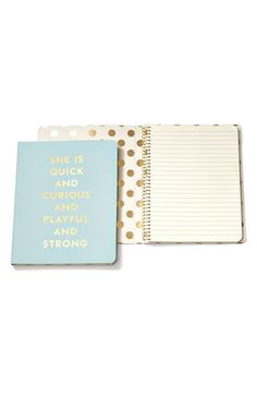 kate spade new york 'she is quick and curious' spiral notebook Light Blue One Size by: kate spade new york @Nordstrom