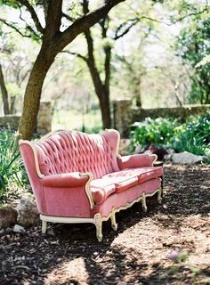 Pink couch in the forest