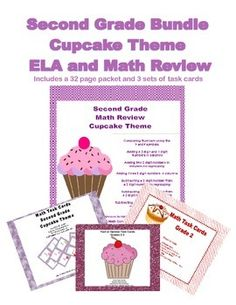 This is a fun and complete way to review second grade math and ELA skills. It includes a 32 page packet and 3 sets of task cards for a total of 78 pages all with a whimsical charming cupcake theme. CCSS.Math.Content.2.NBT.A.4 CCSS.Math.Content.2.NBT.B.5 CCSS.Math.Content.2.NBT.B.6 CCSS.Math.Content.2.OA.C.3