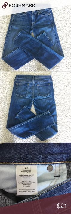 """Vince Straight Leg Jeans Size 26 Vince straight leg jeans in very good condition. Not loose fitting, but not skinny jeans either. Size 26. Waist is approx. 15.50"""" across, Rise is 8"""", Inseam is 32.50"""". See photo of tag for more information. I'm also selling another exact pair, why not bundle them and save on shipping? This pair is in slightly better condition than other. No stains, no holes in either. Vince Jeans Straight Leg"""