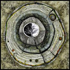 Available Heartwood Works and Tree Mandalas - Heart of White Oak - Lorraine Roy: Textile Art Textile Fiber Art, Textile Artists, Circle Art, Leaf Art, Tree Art, Fabric Art, Artist Art, Art Techniques, Mixed Media Art