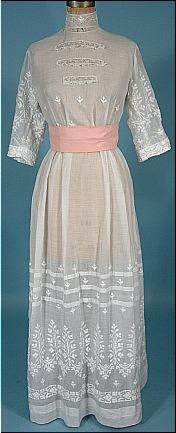 High collared Edwardian lawn dress with sash