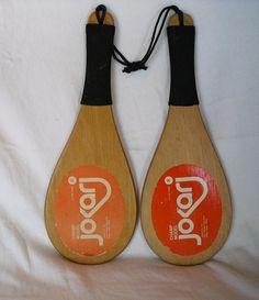 JOKARI  Vintage toys French Wooden Game Paddles by JUNKMANSGAL
