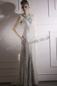 Silver Halter Lace Train Silk Like Womens Evening Dress Women s Evening  Dresses 591ea9dae245