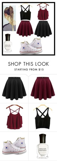"""Untitled #12"" by joanasl ❤ liked on Polyvore featuring Converse and Deborah Lippmann"