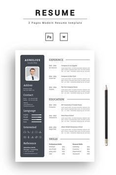 To get the job, you a need a great resume. The professionally-written, free resume examples below can help give you the inspiration you need to build an impressive resume of your own that impresses… Modern Resume Template, Cv Template, Resume Templates, Templates Free, Cv Design, Resume Design, Graphic Design, Job Resume, Student Resume