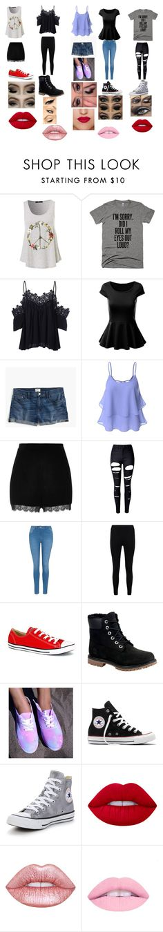 """outits"" by fashionlover200612 on Polyvore featuring J.Crew, Doublju, River Island, WithChic, George, Boohoo, Converse, Timberland and Lime Crime"