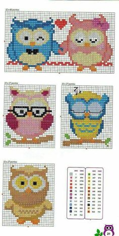 Cute X-stitch owls Cross Stitch Owl, Beaded Cross Stitch, Cross Stitch Animals, Cross Stitch Charts, Cross Stitch Designs, Cross Stitching, Cross Stitch Embroidery, Cross Stitch Patterns, Owl Patterns