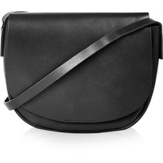 TOPSHOP Clean Leather Saddle Bag (81 BAM) ❤ liked on Polyvore featuring bags, handbags, shoulder bags, black, black leather purse, long strap shoulder bag, black purse, leather saddle bags and leather handbags