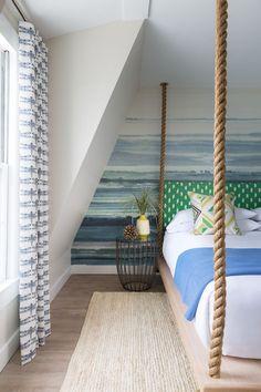 Swinging rope platform bed at the Summercamp Hotel, in Martha's Vineyard.