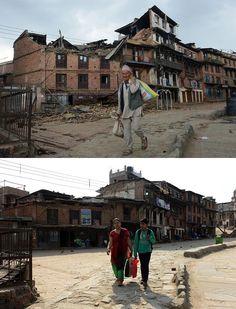 La ciudad de Bhaktapur los días posteriores al terremoto de Nepal y en la actualidad