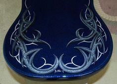 Old school metal flake, cobalt blue candy, tribal graphics Custom Airbrushing, Blue Candy, Air Brush Painting, Guitar Case, Dave Matthews, Pinstriping, Indie Movies, Romantic Movies, Custom Paint