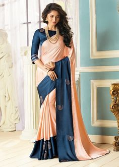 Peach Saree, Fancy Fabric Saree, Buy latest Saree with custom stitching and worldwide shipping. Peach Saree, Latest Sarees, Party Wear Sarees, Fabric Design, Sari, Fancy, Designer Sarees, Clothes For Women, Womens Fashion