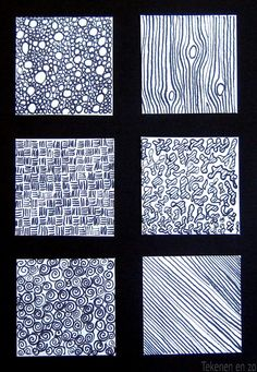 What to do with students visual texture explorations/practice sheets? I like this display ---Texture lesson. Medium: indian ink and dip brush. Principles Of Design, Elements Of Design, Art Elements, Drawing Lessons, Art Lessons, Value Drawing, Drawing Art, Texture Drawing, Visual Texture