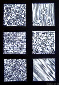 Oefening met oost-Indische inktBespreek met de leerlingen wat textuur is: de manier waarop iets is samengesteld, hoe daardoor het oppervlak van het materiaal aanvoelt en hoe de structuur eruit ziet. Laat verschillende texturen voelen. Bespreek hoe je dit zou kunnen tekenen. Een muur is niet zo moeilijk, je tekent immers stenen. Maar hoe teken je de textuur van vloerbedekking? En hoe zou je de textuur van een poezenvacht tekenen?  De leerlingen tekenen op een wit tekenvel zes vakje
