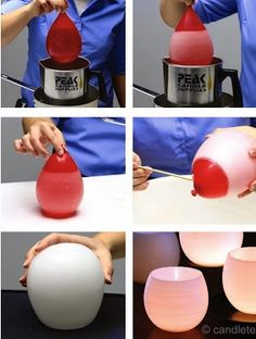 Derrite un poco de cera en una taza. Sumerje un globo en la cera derretida. Deja secar el globo unos 20min. Pincha con cuidado el globo con una aguja y retira los restos. Pon una velita dentro y listo! :D