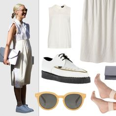 Rachel Wang, Fashion Market Director at Nylon ::  Head-to-toe white can be tricky to wear but neutral accessories like a gray clutch and honey-colored glasses keep the look from being too stark.