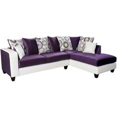 Flash Furniture Riverstone Implosion Purple Velvet Sectional with Right Side Facing Chaise Purple Sofa, Purple Velvet, White Velvet, Purple Rugs, Lila Sofa, Purple Furniture, Rustic Furniture, Barbie Furniture, Modern Furniture