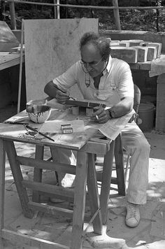 Spain. Sculptor Eduardo Chillida at work, 1990s