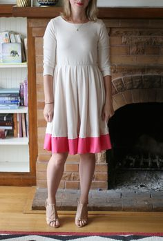 add a color block hem to a too short dress or skirt