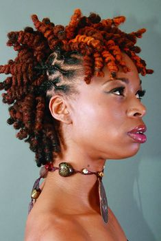Maroon Locs and braids. / Let's curl it up! Dreadlocks curled tightly into a semi mohawk. This Queen wears her locs proudly. Dreads Styles, Dreadlock Styles, Braid Styles, Afro Punk, Pelo Natural, Natural Hair Care, Black Women Hairstyles, Cool Hairstyles, Natural Hairstyles