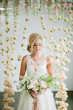 Suspended Carnations | 21 Wedding Photo Backdrops You Can Make Yourself