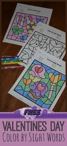 These Valentines Day Color by Sight Wordsworksheets are such a fun way for preschool, kindergarten, and first grade kids to practice key Dolch sight words! FREE Valentine's Day Printables Valentin