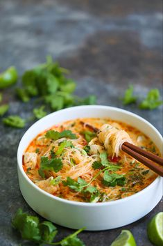 Thai Red Curry Noodle Soup - Yes, you can have Thai takeout right at home! This soup is packed with so much flavor with bites of tender chicken, rice . Soup Recipes, Vegetarian Recipes, Chicken Recipes, Dinner Recipes, Cooking Recipes, Healthy Recipes, Thai Soup Vegetarian, Thai Food Recipes, Thai Curry Recipes