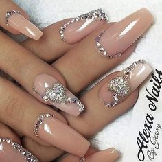 Shared by AtaDeniz✅. Find images and videos about glitter, stiletto and wedding nails on We Heart It - the app to get lost in what you love. Sexy Nails, Glam Nails, Fancy Nails, Bling Nails, Toe Nails, Bling Nail Art, Coffin Nails, Nail Jewels, Gems On Nails