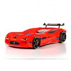 Cama coche con sonidos y mando a distancia, color: rojo - M04