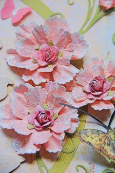 What A Beautiful Mess: touch edges of the petals with gesso and add some Stickles