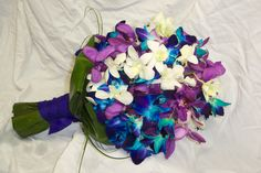 Blue, purple and white orchid bouquet