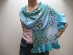 Reserved for Sherri Nuno Felted Scarf Shawl Wrap Blue by feltinga
