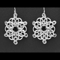 "Handmade ChainMaille Earrings ""Celtic Star"" Bright Aluminum. The look of silver without the cost! Cleaning is simple, Will not tarnish like silver"
