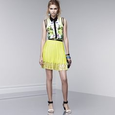 HPGORGEOUS HI/LO BLOUSE BY PRABAL GURUNG Prabal Gurung for Target Sleeveless Top with a colorful design, buttons up, black collar and mesh detail on sleeves. Material is 100% polyester. Gently worn and in good condition. Tuck it in, wear it out loosely or belt it for so many different looks.  HIC-1 Prabal Gurung for Target Tops Blouses