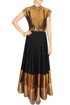 DECCAN DREAMS - Black with gold bodice embellished gown by Pranthi Reddy #new #designer #fashion #couture #shopnow #perniaspopupshop #happyshopping