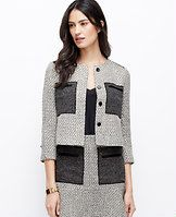 """Colorblock Tweed Jacket - Tweed twist: our modern take on tweed boasts a gorgeously textured palette - colorblocked, shimmer infused and finished with sleek faux leather touches. Pair with a matching skirt or over an all-black ensemble for one of fall's most-wanted looks. Jewel neck. 3/4 sleeves. Hidden button front. Faux leather trimmed welt chest pockets. Lined. 18 1/4"""" long."""