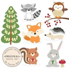 This is a set of 9 woodland critter images, professionally drawn by me, Amanda Ilkov. Includes fox clip art, owl clip art, porcupine clip art, racoon clip art, squirrel clip art, rabbit clip art, pine tree clip art, berry branch clip art and mushroom clip art.