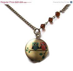 @Shanna Perkins Owl Locket Kawaii Necklace Brass Bicone by KitschBitchJewellery, $17.59